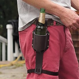 Leather beer holster.